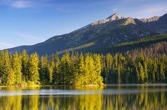 与山湖的风景 免版税库存图片