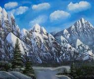 与山的冬天风景 免版税库存图片