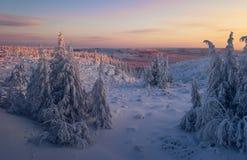 与山的冬日风景 库存图片