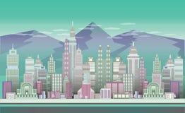 与山的城运会背景 免版税库存照片