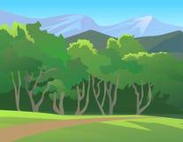 与山的森林风景 免版税库存照片