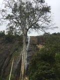 与山的瀑布 图库摄影