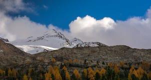 与山的秋天风景在Val Martello, southtyrol,意大利 免版税图库摄影