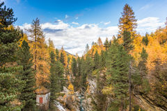 与山的秋天风景在Val Martello, southtyrol,意大利 图库摄影