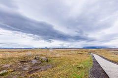 与山的谷在冰岛 免版税库存照片