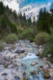 与山的高山洪流 图库摄影