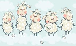 与山羊的蓝色边界 免版税图库摄影