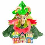 与山羊的水彩美丽的圣诞卡 免版税库存照片