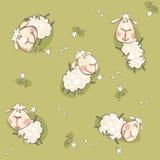 与山羊的绿色墙纸 图库摄影