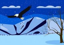 与山老鹰的冬天风景 免版税图库摄影