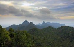 与山脉的森林横向在凌家卫岛,马来西亚。 免版税库存图片