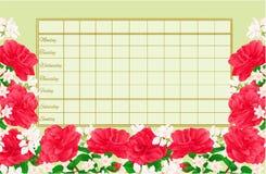 与山茶花Japonica葡萄酒编辑可能传染媒介的例证的时间表每周日程表 免版税库存照片