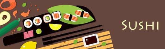 与山葵和姜的日本寿司 在顶视图的盘 餐馆亚洲人烹调 免版税图库摄影