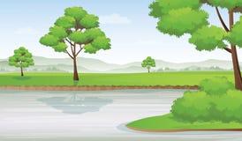 与山行的河沿风景在天际,传染媒介例证 库存图片
