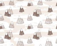 与山风景的传染媒介无缝的样式 免版税库存照片