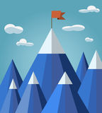 与山风景的成功或领导概念 库存图片