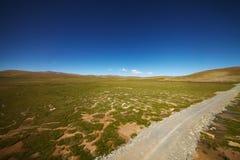 与山风景的绿色平原 免版税库存图片