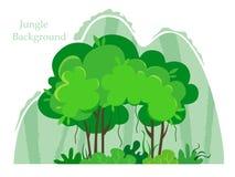 与山,动画片样式的密林的热带树 一个森林风景的传染媒介例证在白色背景的 向量例证