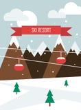 与山,缆索铁路和题字天空手段的圣诞节背景 免版税图库摄影
