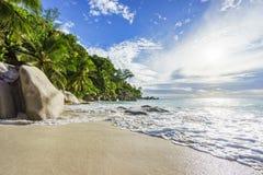 与岩石、棕榈树和绿松石wate的天堂热带海滩 免版税库存照片