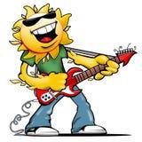 与岩石吉他的愉快的微笑的太阳字符 库存照片