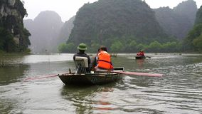 与岩石和米领域的美好的风景在宁平市和Tam Coc在越南 股票录像
