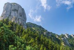 与岩石墙壁的山 图库摄影