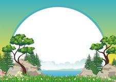 与岩石小山,可爱和逗人喜爱的风景动画片设计的风景 向量例证