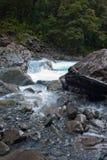 与岩石的一条小河在米尔福德峡湾高速公路的秋天小河在Fiordland在新西兰 免版税库存照片
