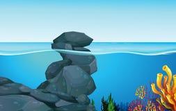 与岩石的场面在海洋下 向量例证