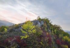 与岩石的山在秋天黄色和红颜色 秋天场面 免版税库存图片