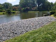 与岩石的湖边 免版税图库摄影