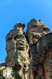 与岩石的Ihlara谷使中央安纳托利亚陷下 Capadocia,土耳其 免版税库存图片