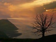 与峭壁和灯塔,英国的神秘的日落风景 库存图片