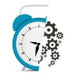 与嵌齿轮的闹钟传染媒介-齿轮例证 免版税库存图片