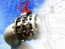 与工业设备照片混合的管道系统的设计 免版税库存图片