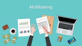 与工作在文书工作文件膝上型计算机和手的商人的多分派任务概念例证 库存照片