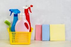 与工具和产品的清洗的成套工具在家 库存图片