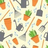 与工具的图片的明信片为庭院和菜ga的 免版税库存照片