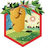 与工蜂的六角形框架在花和蜂窝 免版税库存图片