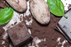 与巧克力、粉末和恶糖果点心立方体的有机未加工的恶豆种子与蓬蒿绿化叶子 库存图片