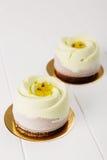 与巧克力丝绒的法国奶油甜点entremet 库存照片