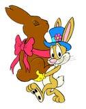 与巧克力兔宝宝的复活节兔子 免版税库存照片