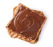 与巧克力奶油的多士 免版税库存图片