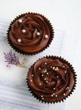 与巧克力奶油的巧克力杯形蛋糕 免版税库存照片
