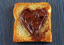 与巧克力奶油的面包干 库存照片