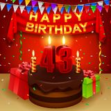 与巧克力奶油蛋糕和三角旗子的愉快的第43个生日 库存例证