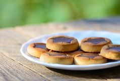 与巧克力星的曲奇饼 免版税图库摄影