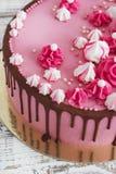 与巧克力污点的桃红色奶油色蛋糕蛋白甜饼在白色木背景的 库存图片