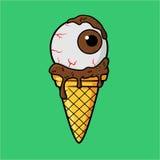 与巧克力牛奶奶油的冰淇凌眼睛 库存例证